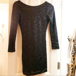 Black 3/4 Length Sequin Dress